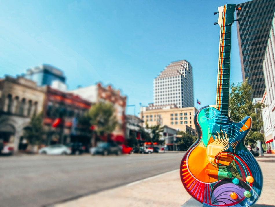 Street art on a guitar in Austin, Texas.