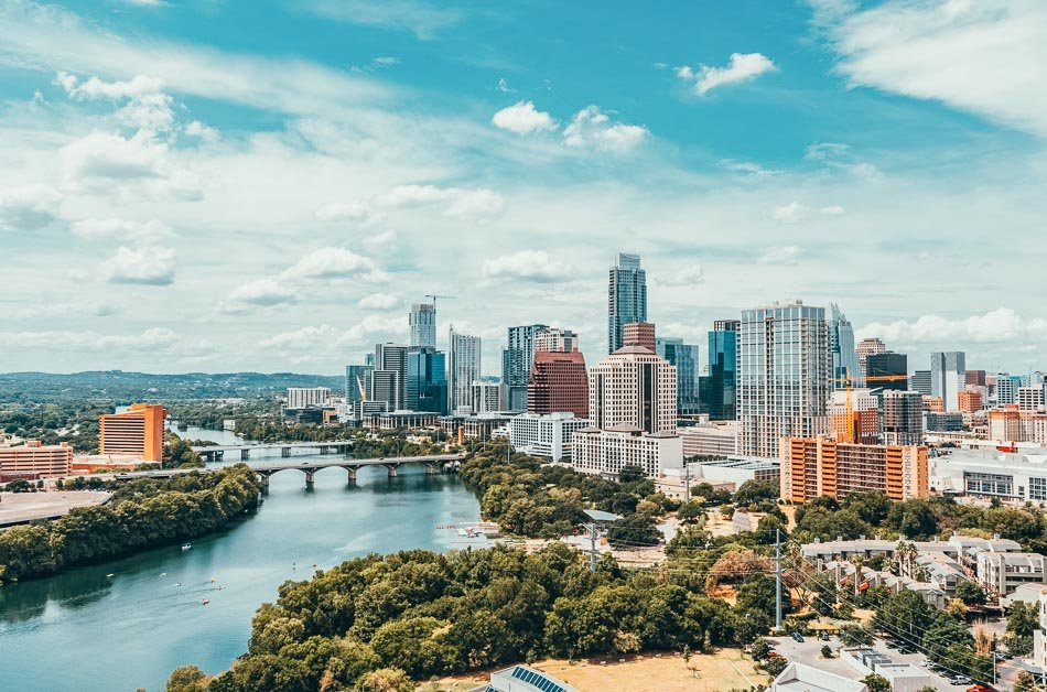View of downtown Austin from above.