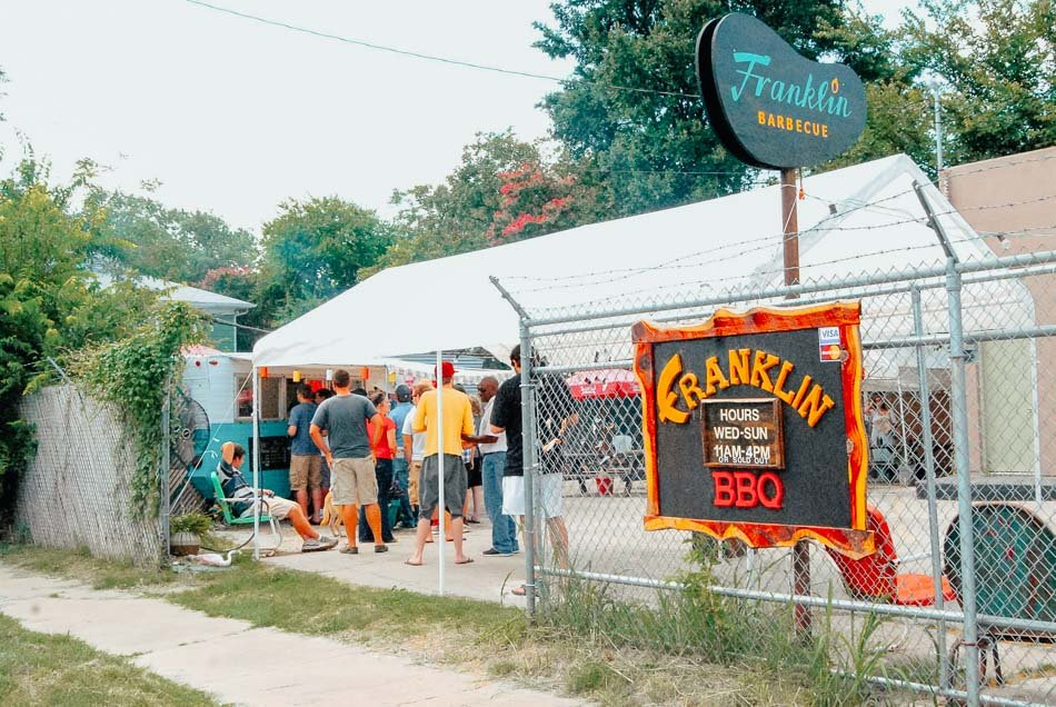 The line at the famous Franklin's Barbecue in Austin, Texas.
