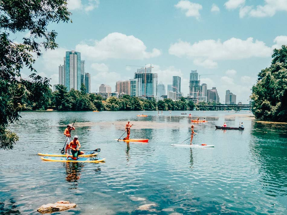 Stand-up paddle boarding at Lady Bird Lake in Austin, Texas.