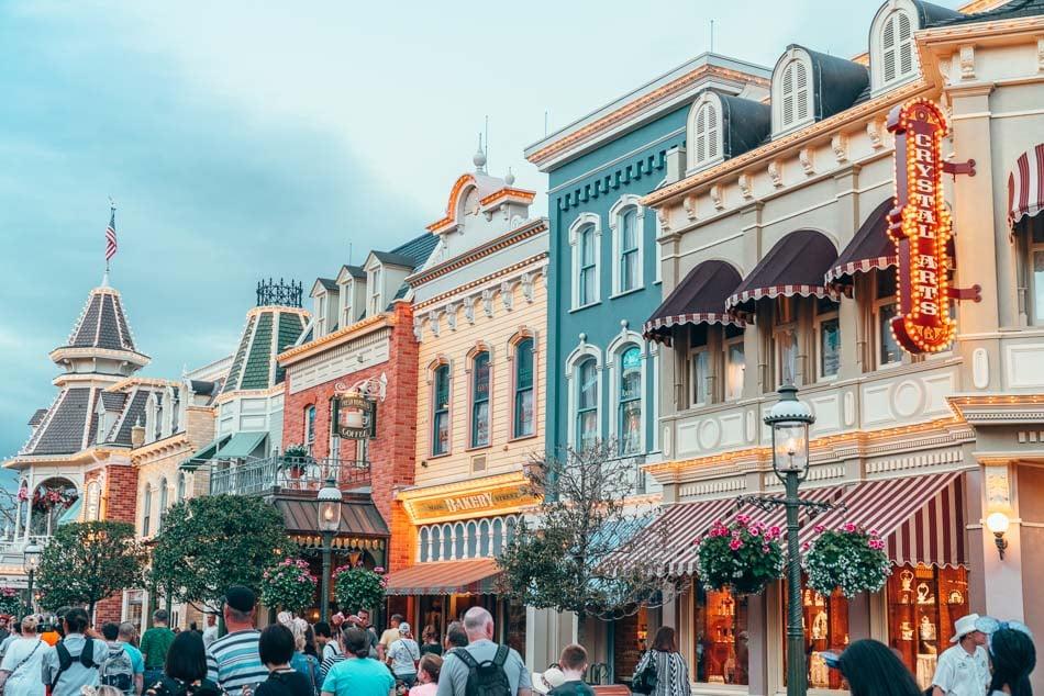 Main Street USA at sunset in Disney World, Orlando, Florida.