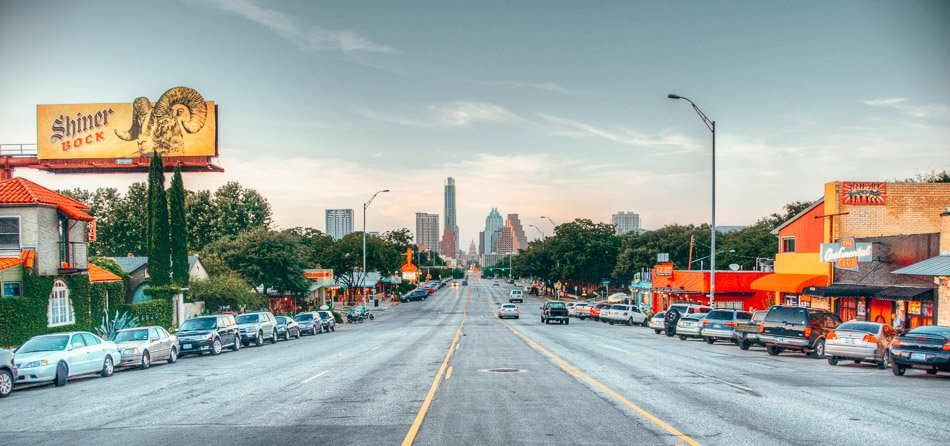 The area of South Congress Avenue, is an area of Austin, TX that leads directly into downtown Austin, ending at the state capitol.