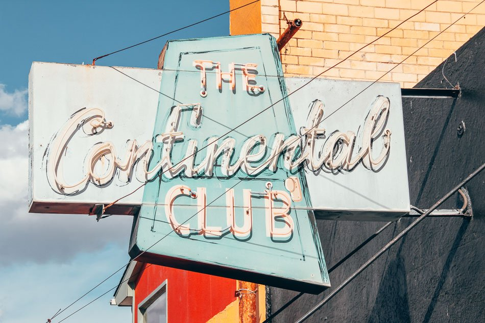Outside of the Continental Club in Austin, Texas.