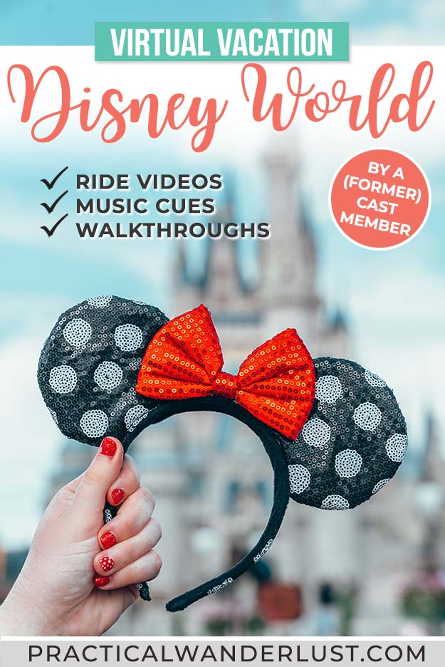 Take a virtual vacation to Disney World! This complete virtual Disney World trip includes ride videos, musical cues, and park walkthroughs for Magic Kingdom, Epcot, Animal Kingdom, and Hollywood Studios. The perfect quarantine activity idea!
