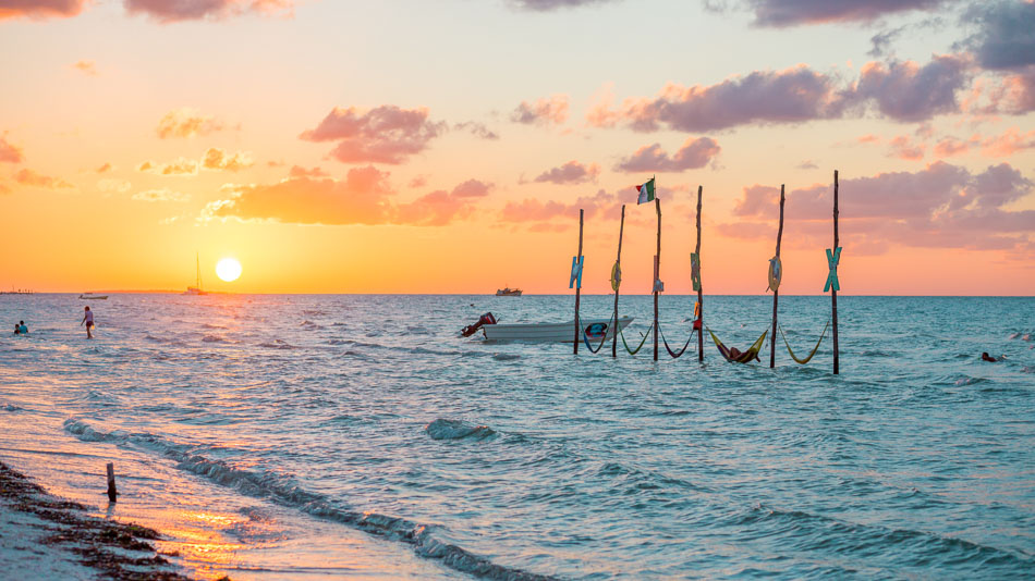 Sunset over Isla Holbox in the Riviera Maya, Mexico.