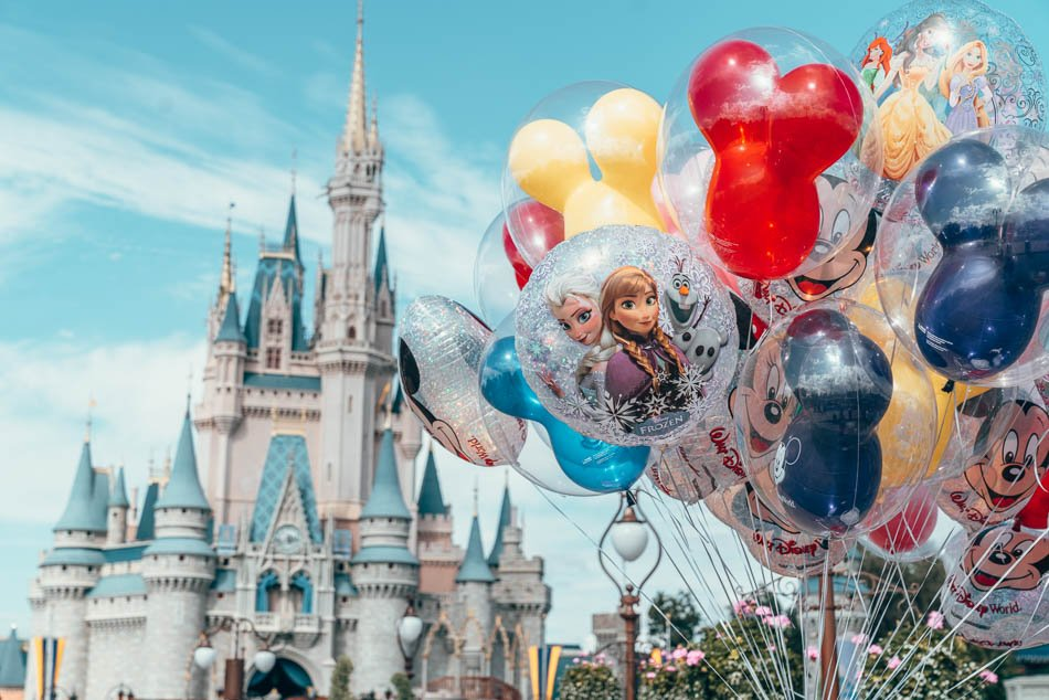 Balloons in front of Cinderella's Castle in Magic Kingdom at Disney World in Orlando, Florida.