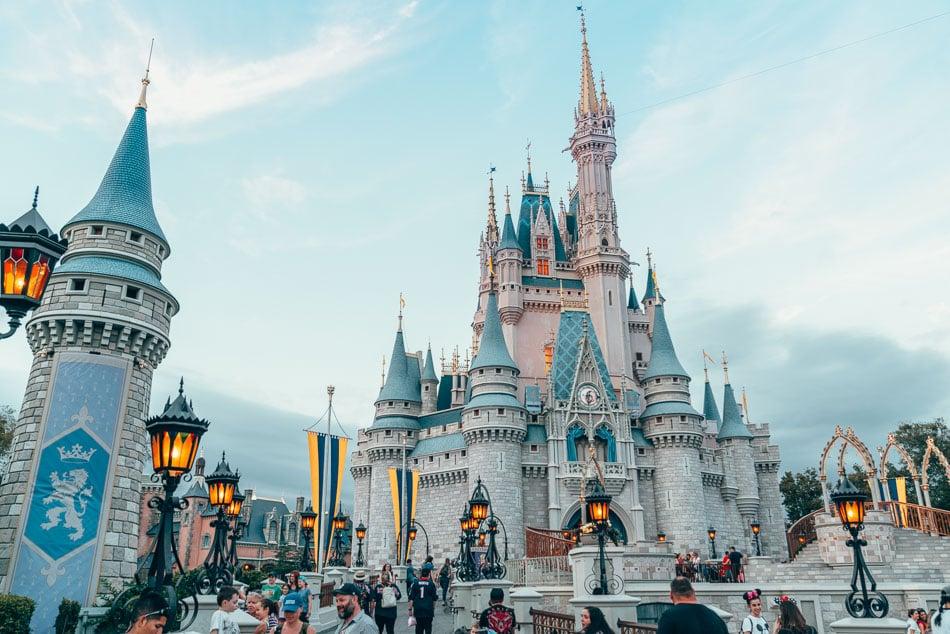 Golden Hour at Cinderella's Castle in Magic Kingdom, Walt Disney World Resort in Florida