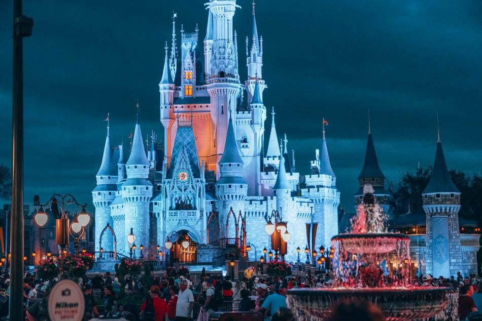 Walt Disney World Resort Orlando Florida Castle and Fountain at Night
