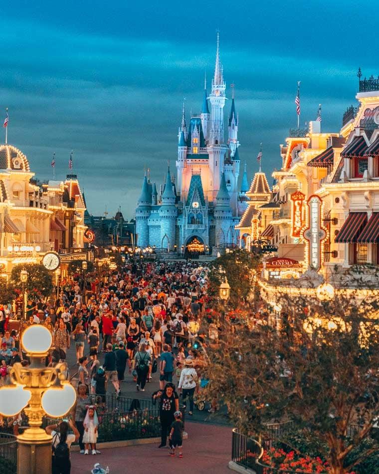 Cinderella's Castle at sunset in Magic Kingdom, Disney World Resort, Florida.