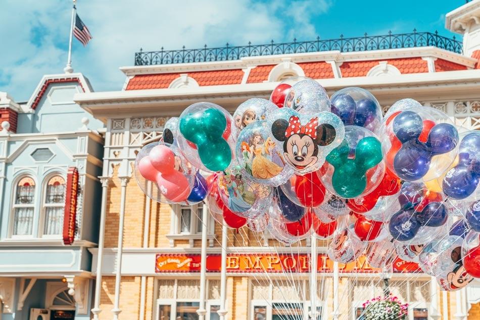 Disney World balloons on Main Street USA in Orlando, Florida.