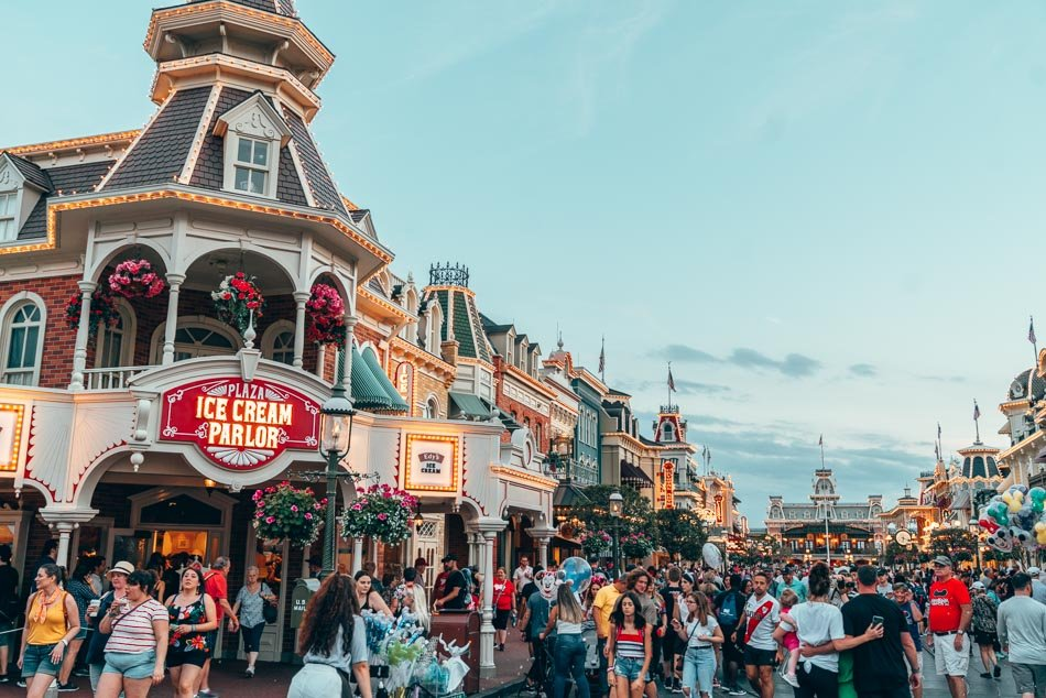 Main Street USA in Magic Kingdom at sunset in Walt Disney World Resort