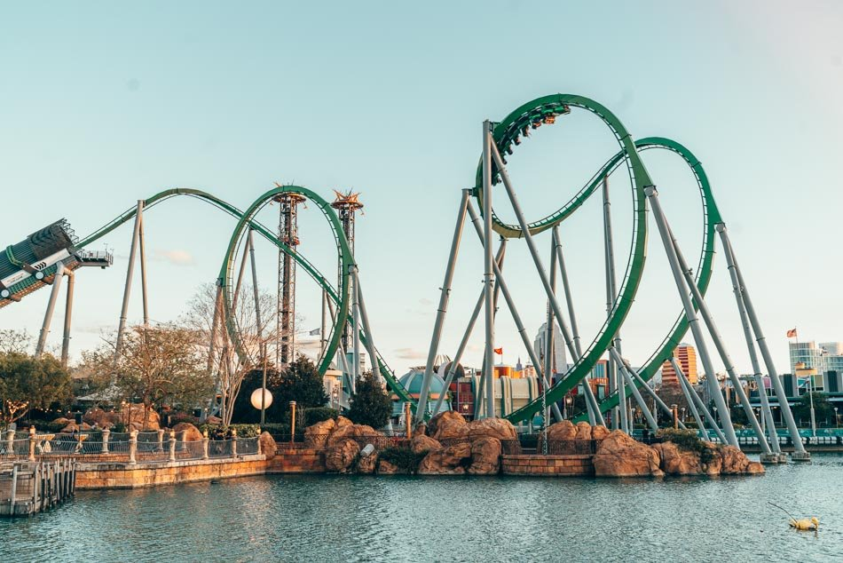 Hulk Roller Coaster at Sunset in Universal Studios Orlando