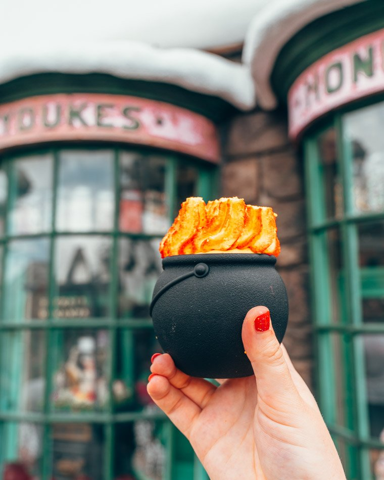 Cauldron Cake  from the Wizarding World of Harry Potter in Honeydukes in Hogsmeade in the Wizarding World of Harry Potter in Universal Studios Orlando Florida