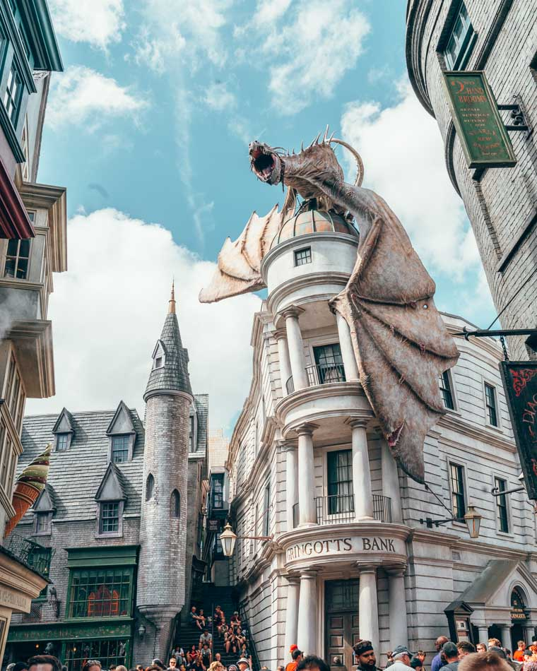 Dragon on top of Gringott's at Diagon Alley in the Wizarding World of Harry Potter in Universal Studios Orlando