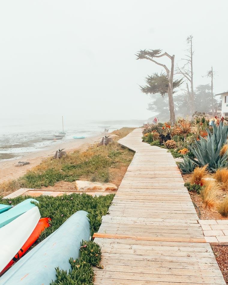 Foggy Boardwalk in the Central Coast California on a Highway One Road Trip