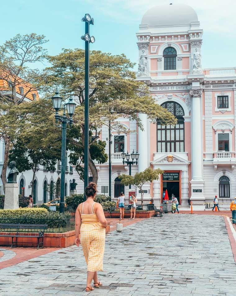 Girl in yellow romper exploring Panama City, Panama.