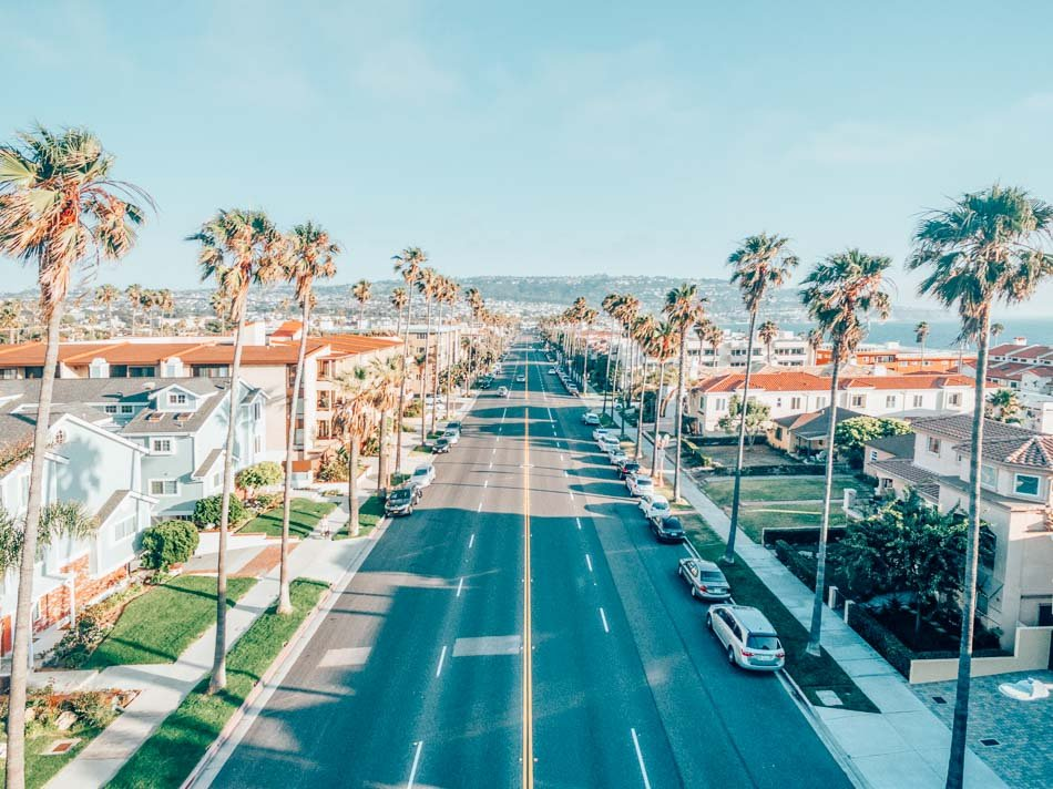 Palm tree lined street in Redondo Beach in Los Angeles, California