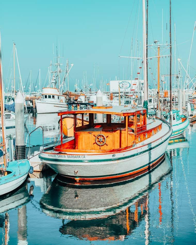 Boats in the Santa Barbara Harbor in Santa Barbara, California