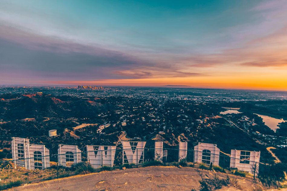 View of the Hollywood Sign and Los Angeles at sunset on the Brush Canyon Trail.