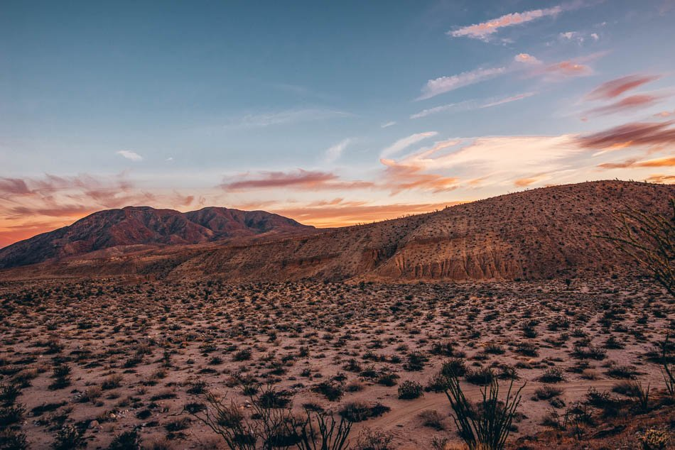 Borrego Palm Canyon at sunset in Anza Borrego State Park