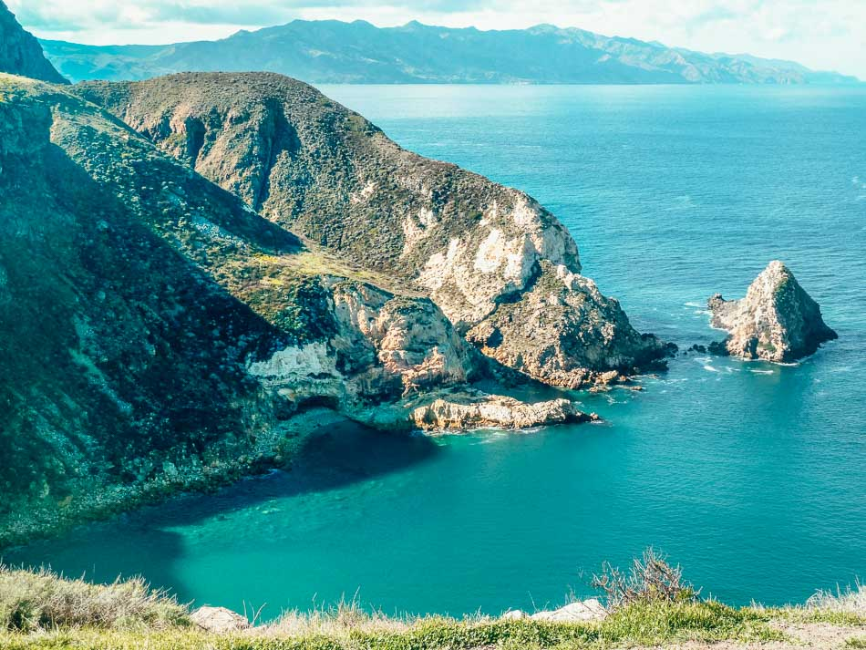 View of an ocean cove on Santa Cruz Island Channel Islands National Park in Southern California