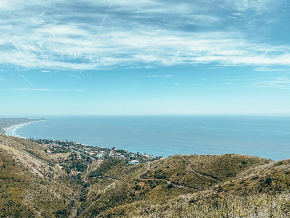 View of the Santa Monica National Recreation Area and the Pacific Ocean