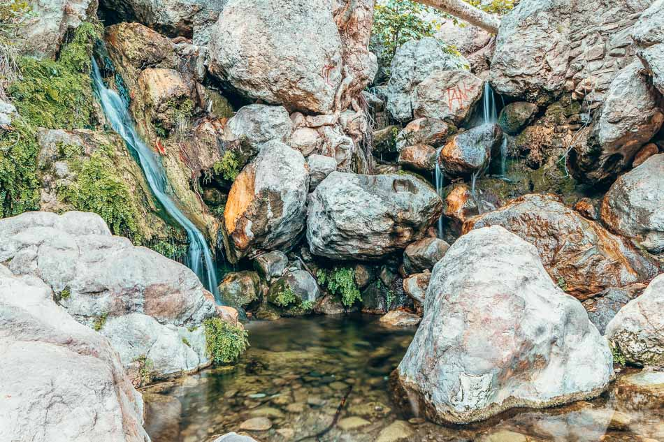 Waterfall on the Solstice Canyon Trail in the Santa Monica Mountains National Recreation Area, California