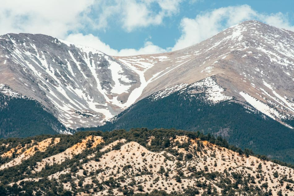 Up close view of the mountain at Angel of Shavano Campground in Colorado.