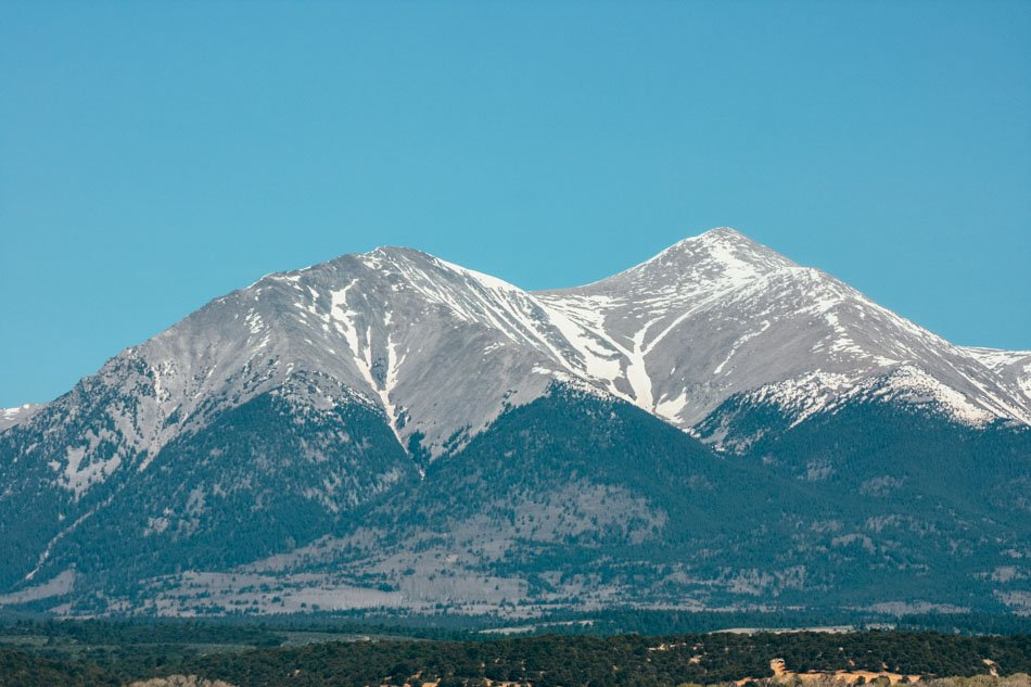View of the mountain at Angel of Shavano Campground in Colorado.