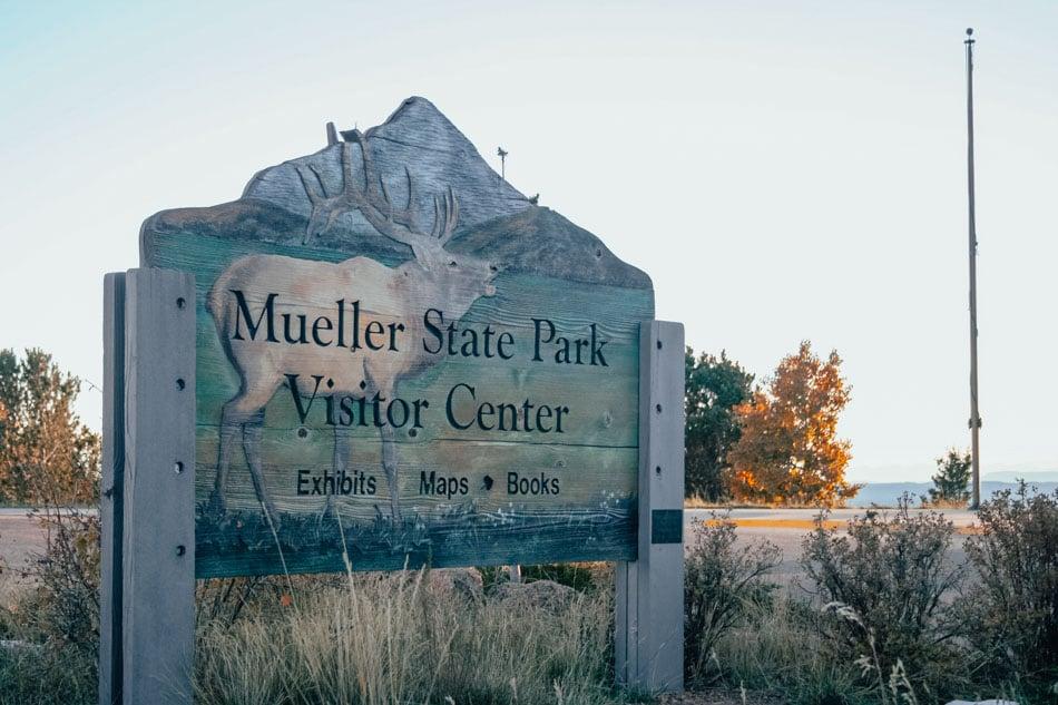 Mueller State Park Visitor Center sign in Colorado.