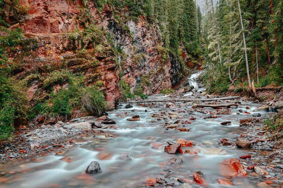 River stream at South Mineral Campground in Colorado.