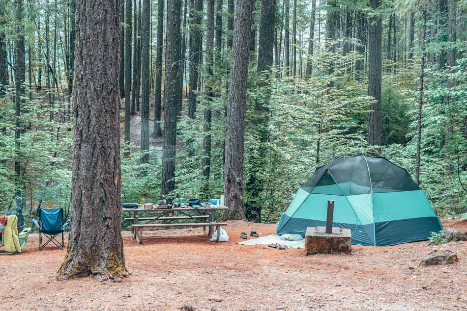 Tent set up at a campsite in the Trinity Alps Wilderness, Northern California.