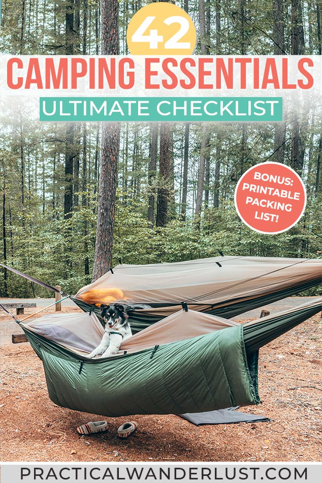 Camping essentials list and packing checklist for car camping! Everything you need for hammock camping, tent camping, and camping with dogs, plus a printable camping checklist.