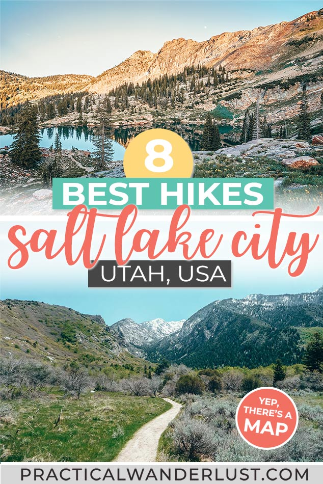 The 8 best hikes in Salt Lake City, from Ensign Peak to Cecret Lake to Bells Canyon! Waterfalls, mountains, and more hikes near Salt Lake City, Utah.