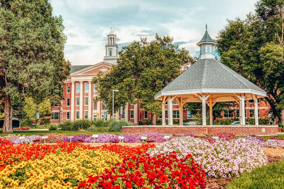 Colorado State University and flower beds in Fort Collins, Colorado.