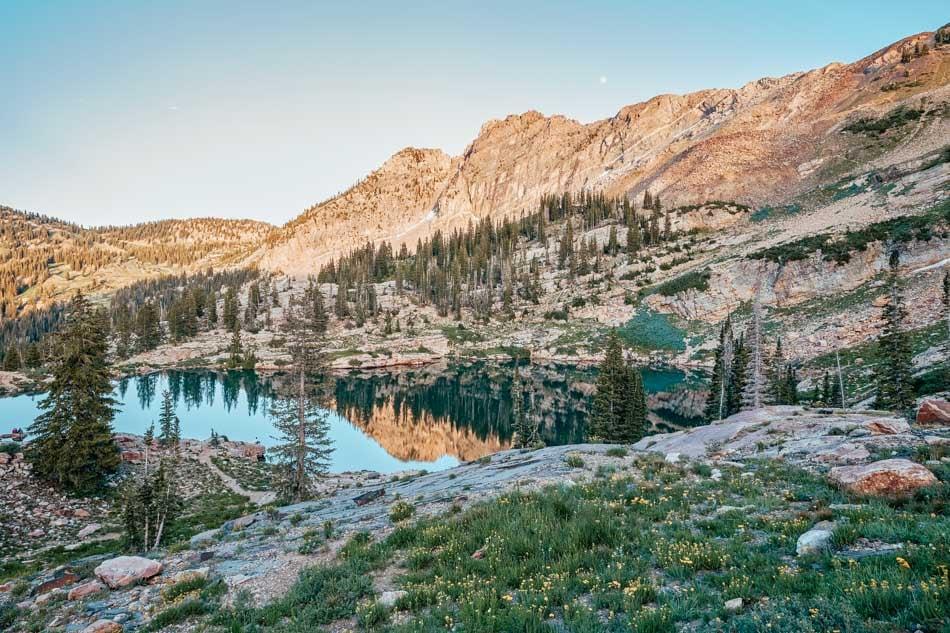 Sunset at Cecret Lake in Utah, USA.