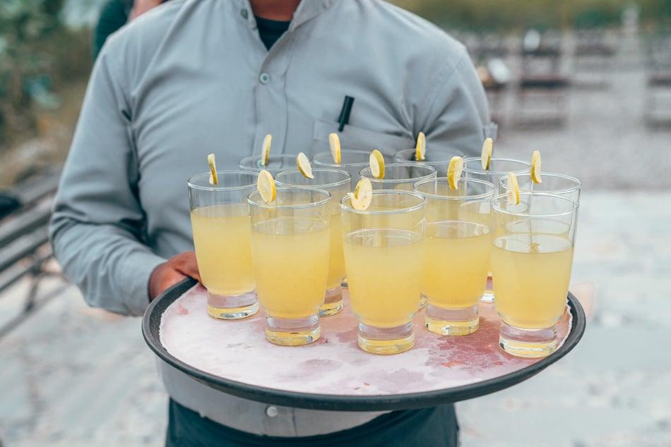 Tray of lemonade at Barahi Eco Lodge at Chitwan National Park, Nepal
