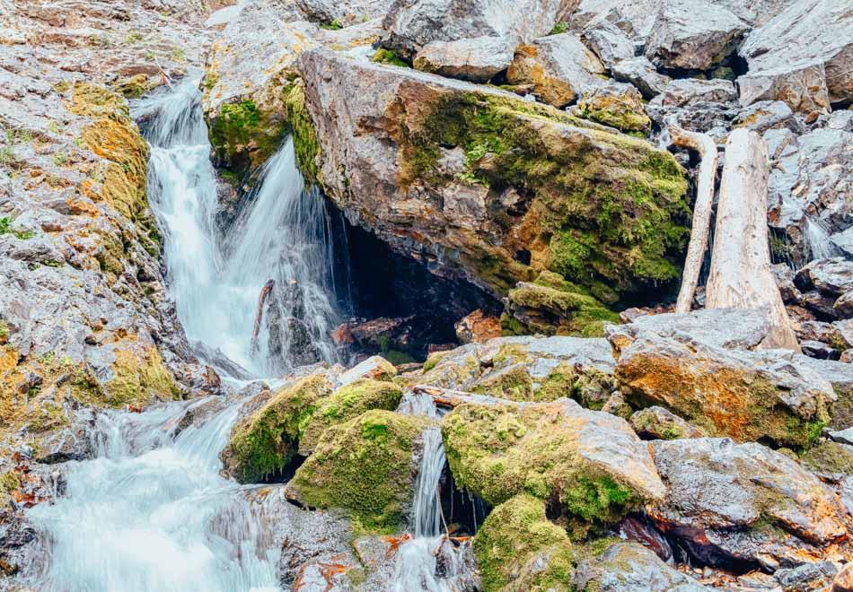 Waterfall and river stream at Doughnut Falls in Utah, USA.