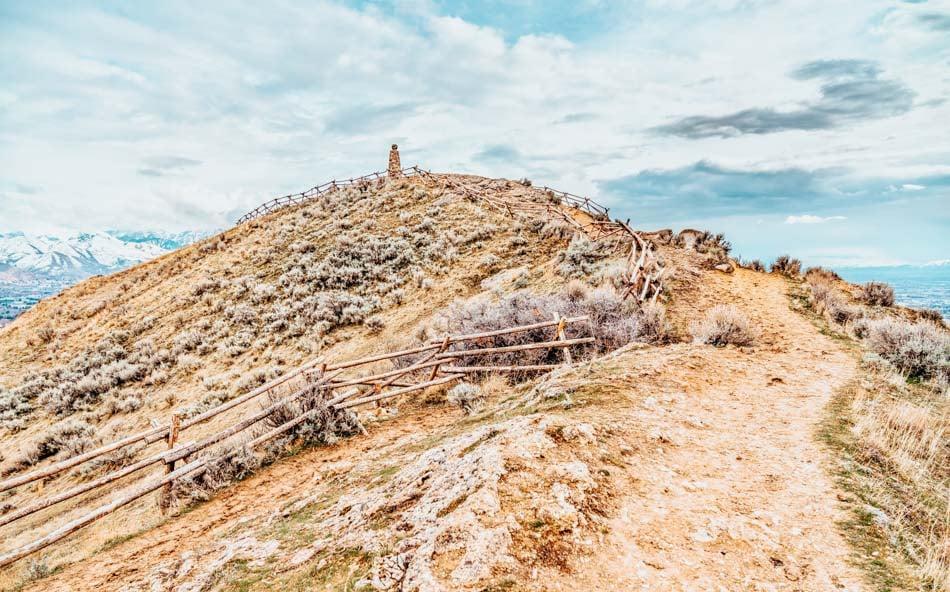 The top of Ensign Peak near downtown Salt Lake City in Utah, USA.