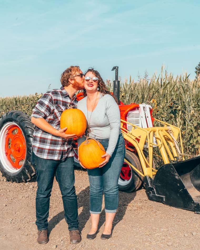 Picking pumpkins in Chico, California in the fall