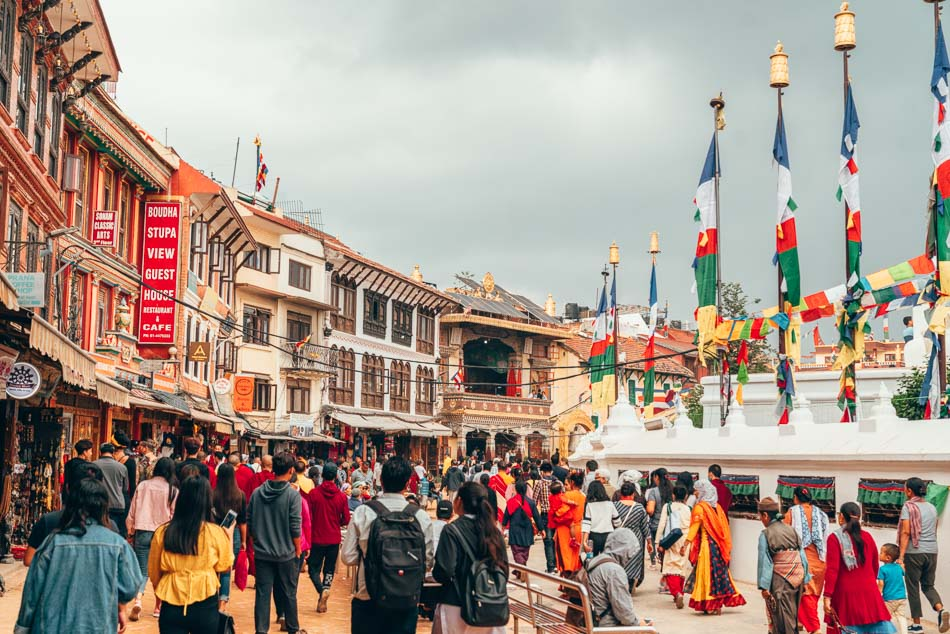Crowd circling the Boudhanath Stupa in Kathmandu, Nepal
