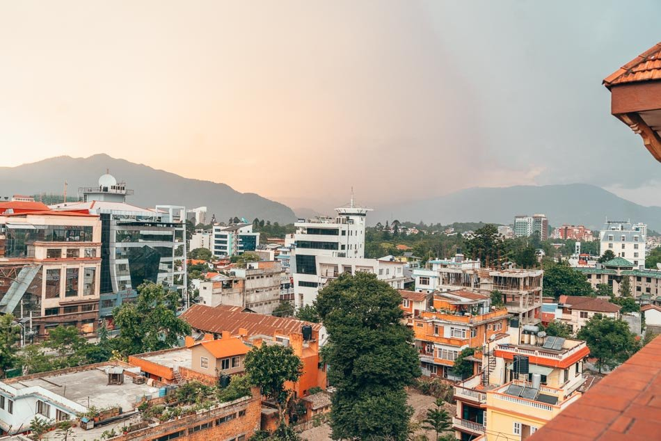 Kathmandu skyline at sunset