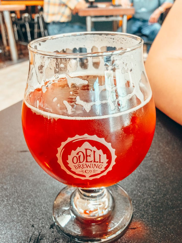 Glass of beer at Odell Brewing Co in Colorado