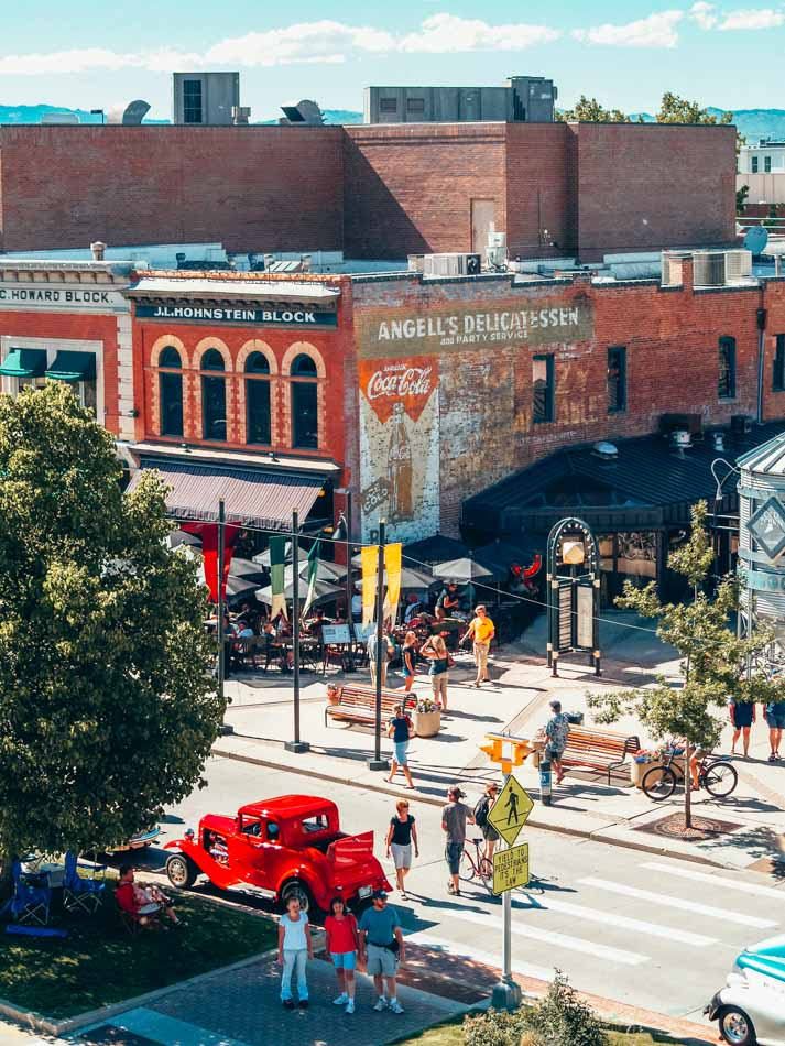 View from above of Old Town Fort Collins