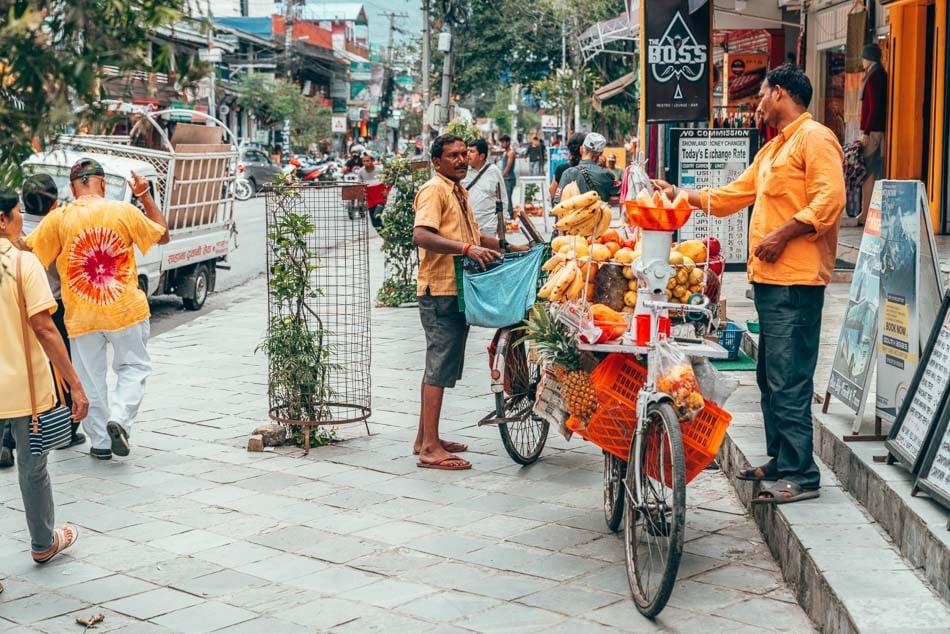 Fruit vendor in Pokhara, Nepal