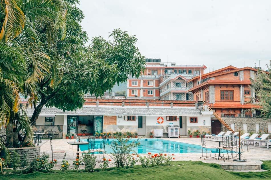 Hotel pool in Pokhara, Nepal