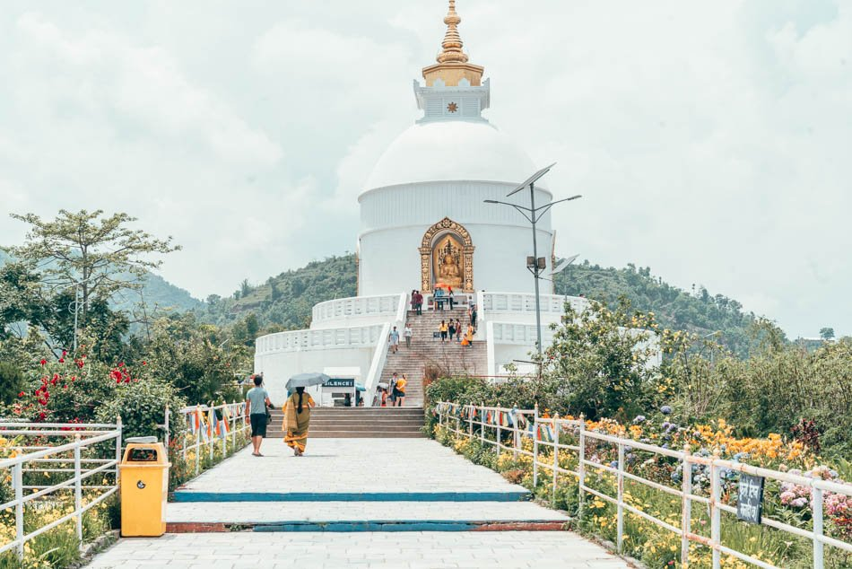 The World Peace Pagoda near Pokhara, Nepal