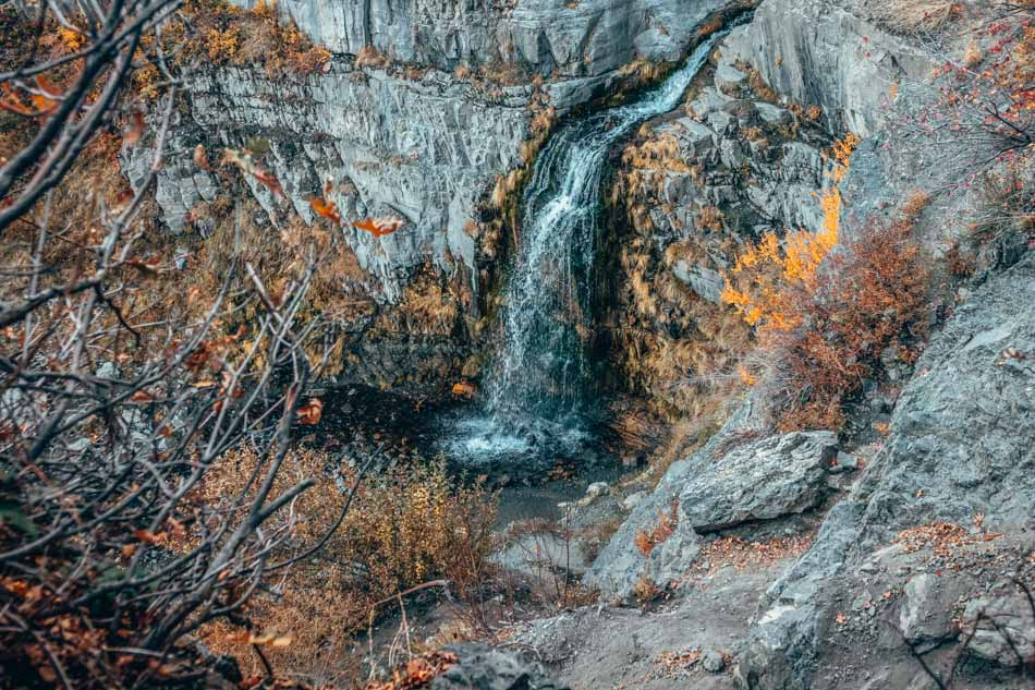 The view of the waterfall from above at Stewart Falls trail in Utah, USA.