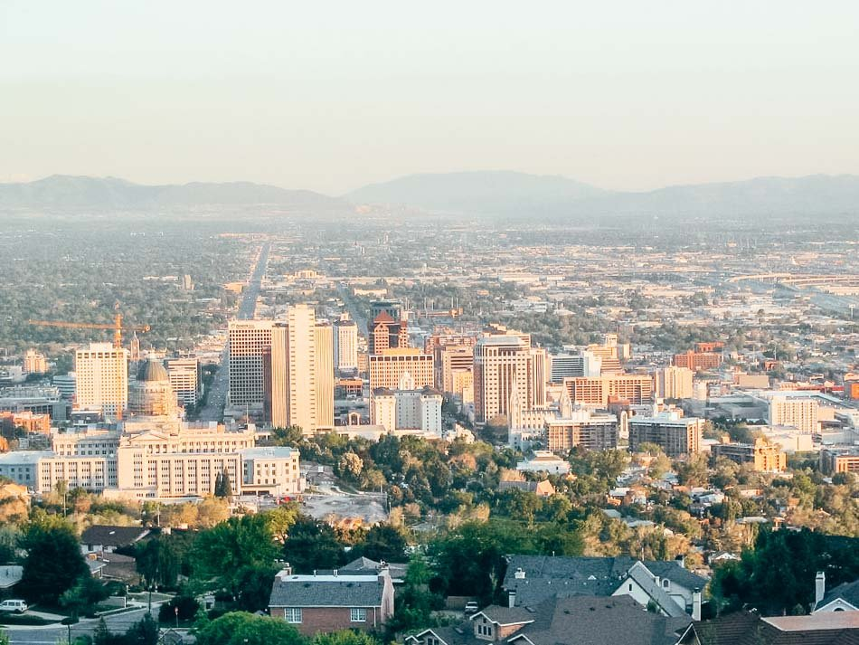 View of downtown Salt Lake City from the Ensign Peak trail!