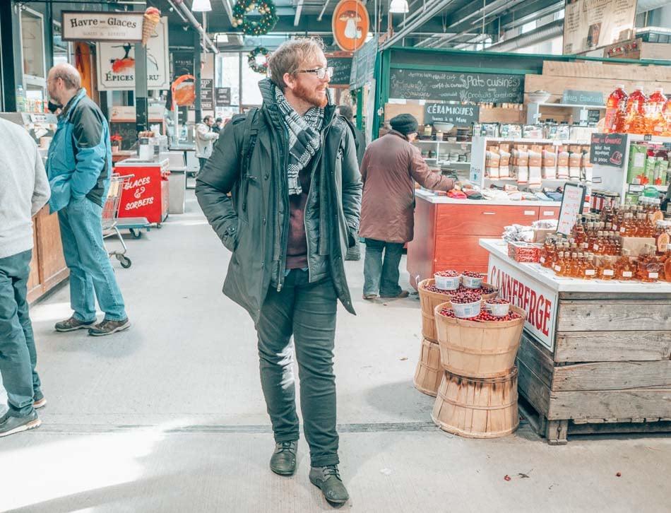 Jeremy in Jean Talon Market in the winter in Montreal, Canada